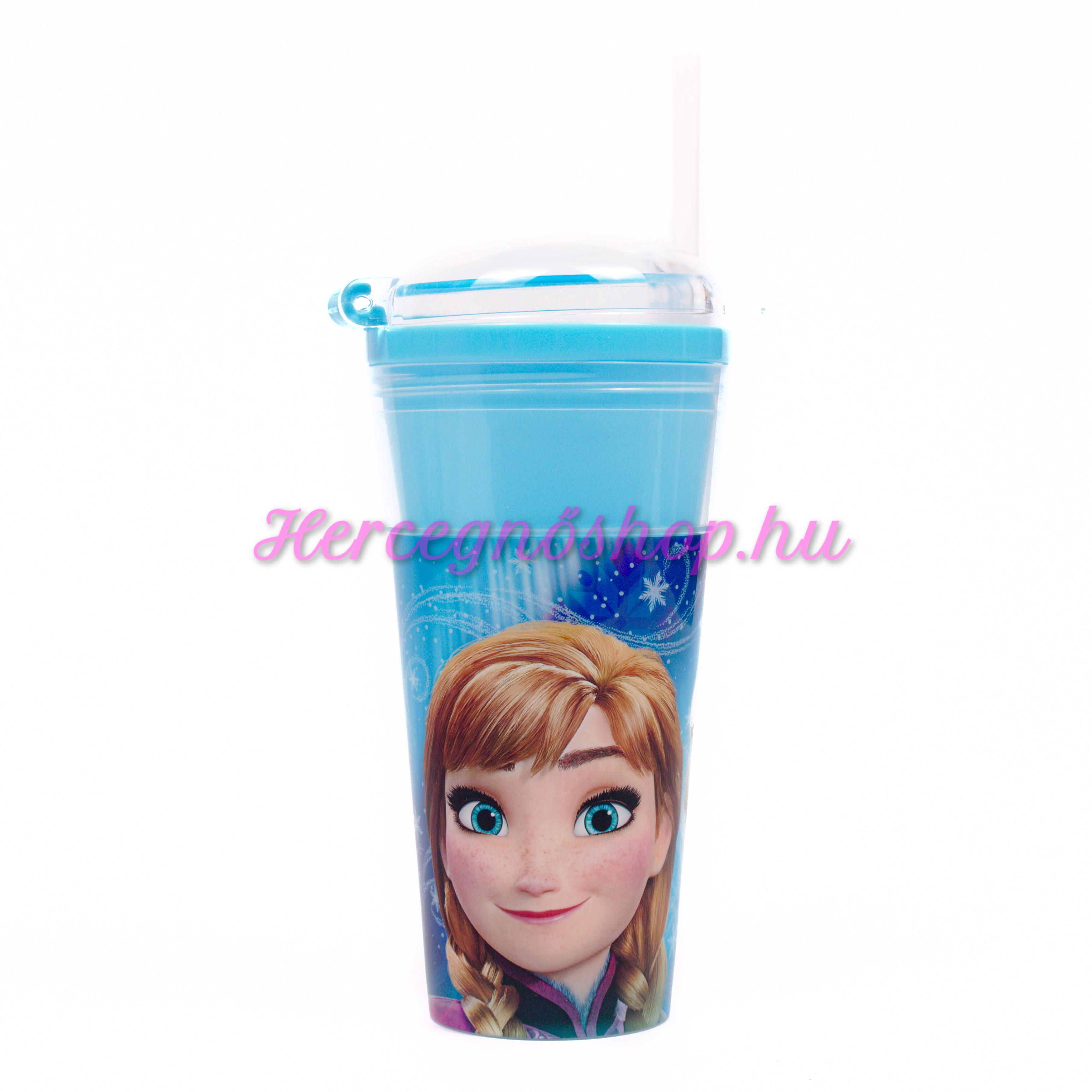 Jégvarázs óriás szívószálas pohár gyümölcstartóval (Disney Frozen)