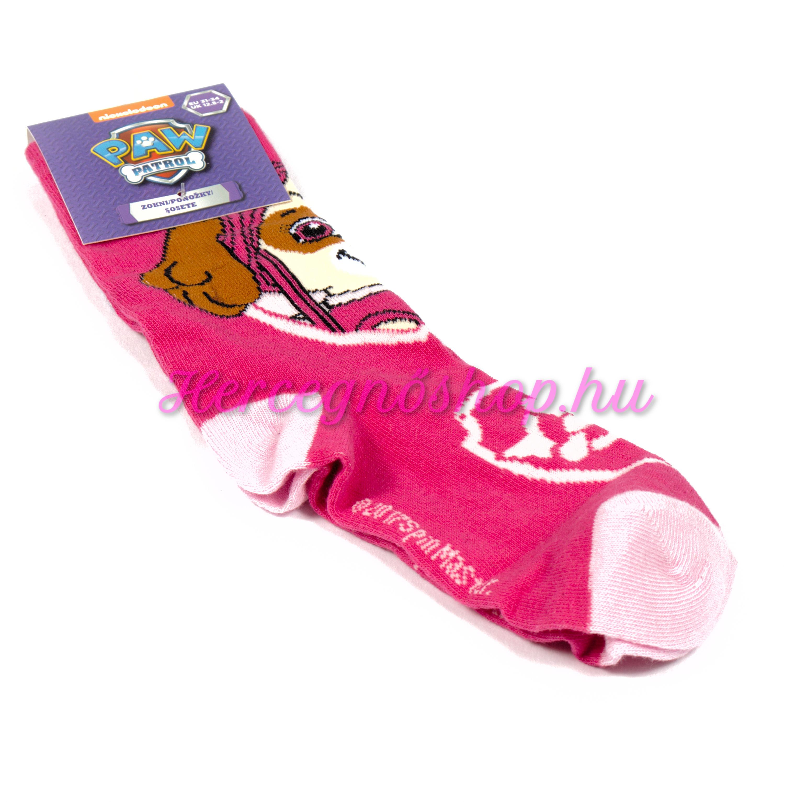 Mancs őrjárat zokni – sötét rózsaszín (Paw Patrol)